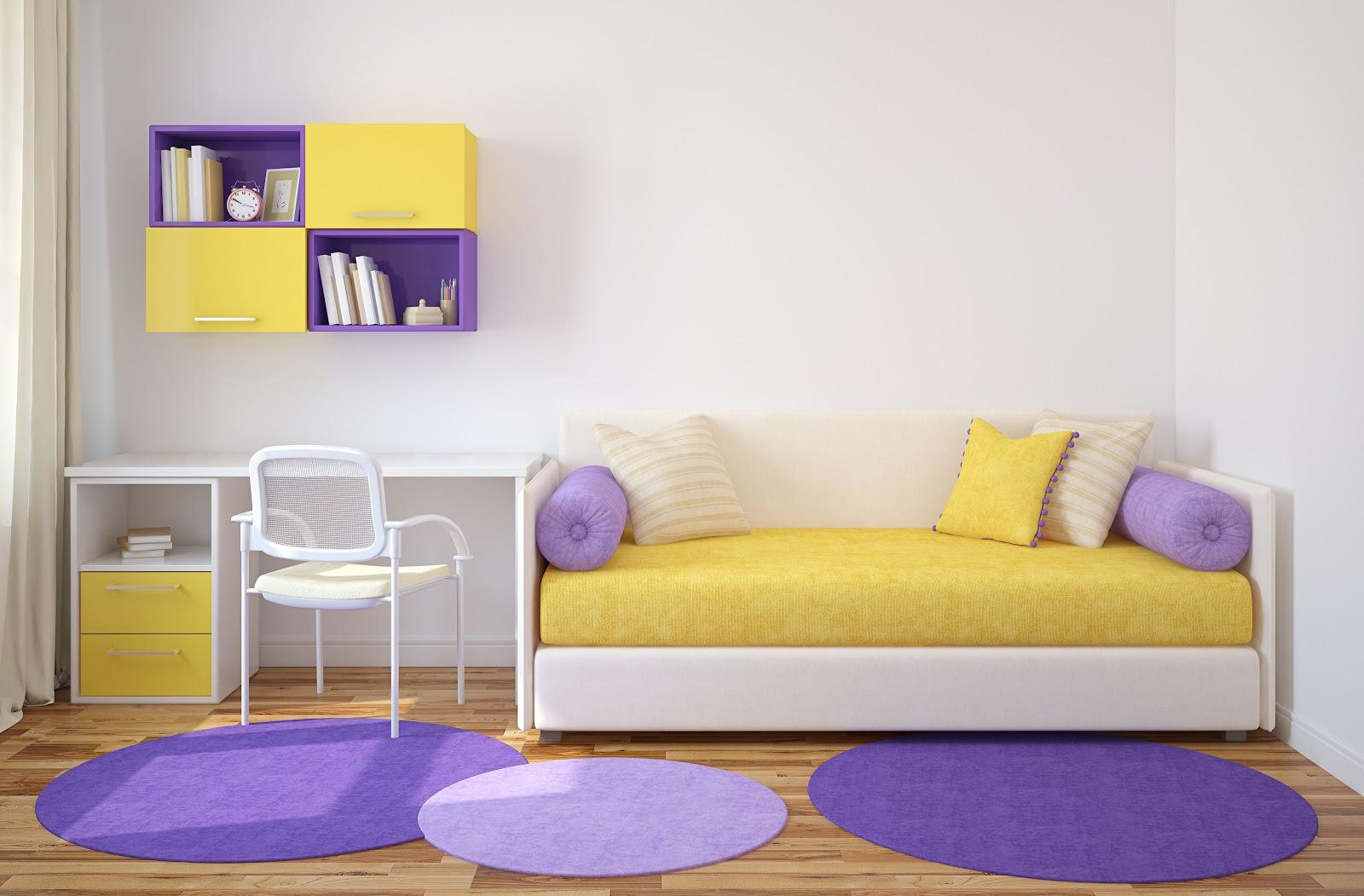 Mobilier living galben - violet